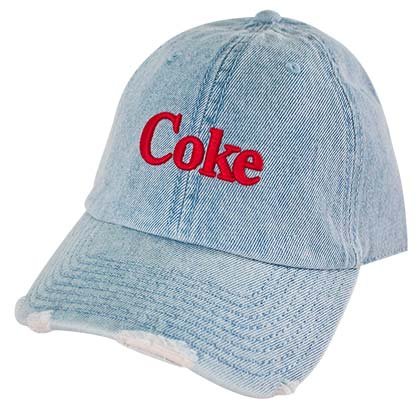 COCA-COLA Coke Distressed Light Blue Embroidered Denim Adjustable Hat