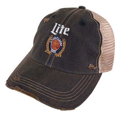 Buy Miller Lite Logo Retro Brand Men S Mesh Brown Trucker Hat