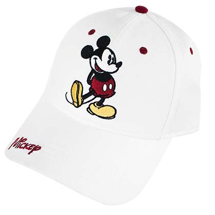 c5463b9800e Mickey Mouse Classic Pose Cap White Adjustable Baseball Hat