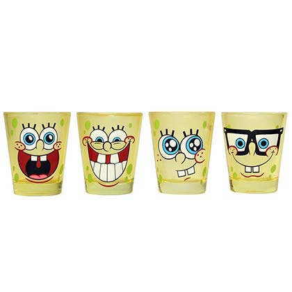 SPONGEBOB SQUAREPANTS Smiling Yellow Shot Glass Set Of 4