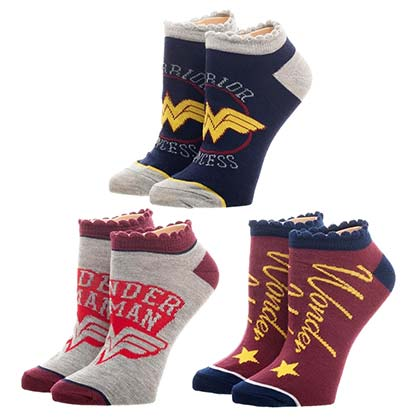 WONDER WOMAN 3 Pairs Women's Ankle Socks