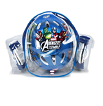 MARVEL COMICS Avengers Assemble Kid's Protection Pack with Helmet/Knee Pads/Elbow Pads/Carry Bag, Multi-colour