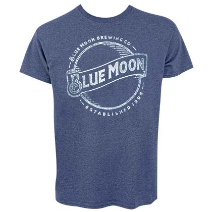 BLUE MOON Faded Line Logo Men's Heather Blue T-Shirt