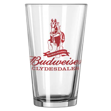BUDWEISER Clydesdales Beer Pint Glass