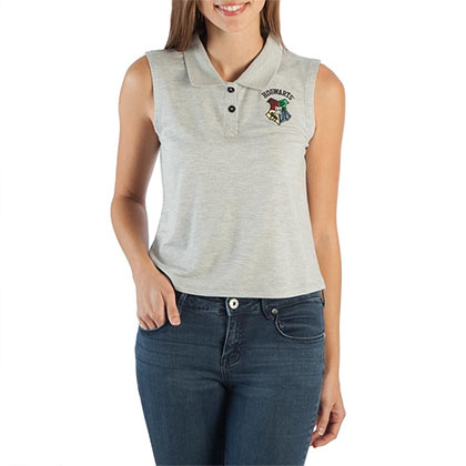 HARRY POTTER Hogwarts Womens Sleeveless Gray Polo Shirt