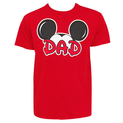 Mickey Mouse Dad Mouse Ears Red Tshirt