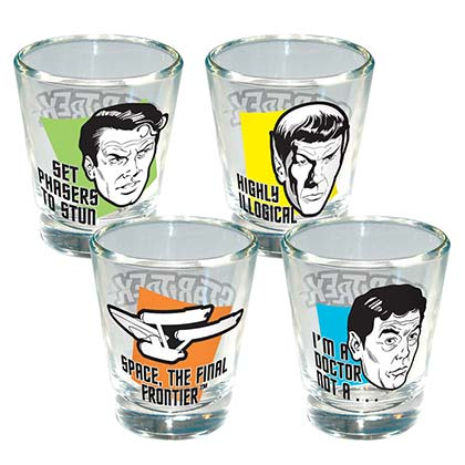 STAR TREK Set of 4 Shot Glasses