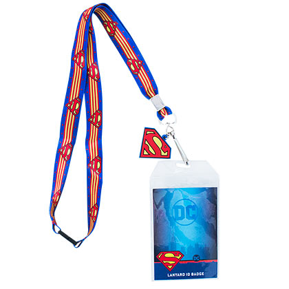 SUPERMAN Striped Lanyard ID Badge Holder