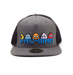 PAC-MAN Embroidered Pixel Logo and Characters Snapback Trucker Baseball Cap, Grey/Black