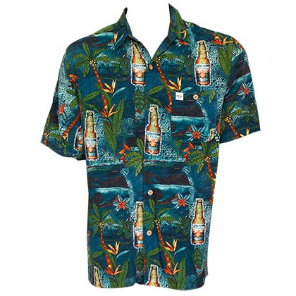 CORONA EXTRA Midnight Stained Glass Aloha Men's Button Down Shirt