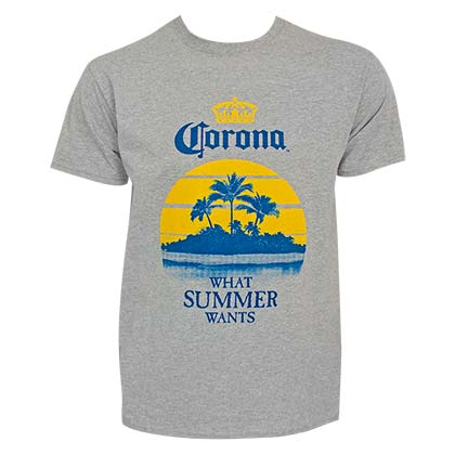 Corona What Summer Wants Palms Men's Grey TShirt