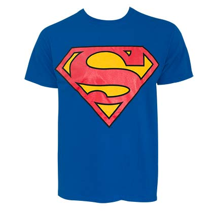 SUPERMAN Glow In The Dark Logo Men's Blue Tee Shirt