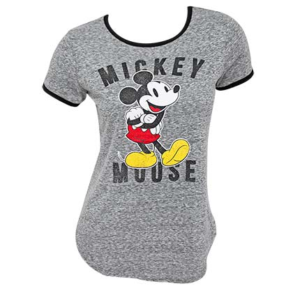 Mickey Mouse Classic Women's Gray Ringer T-Shirt