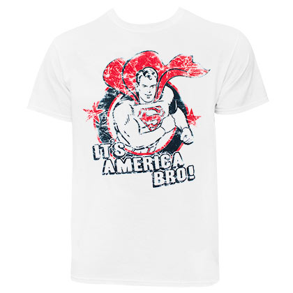 SUPERMAN It's America Bro Men's White T-Shirt