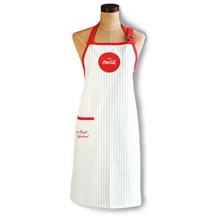 COCA-COLA 1950s Vintage Style Striped White Mint Apron