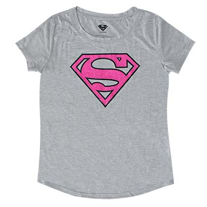 Superman Pink Glitter Logo Kids Girls 7-16 Gray T-Shirt