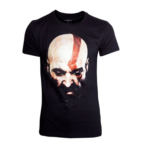 GOD OF WAR Men's Kratos Face T-Shirt, Medium, Black