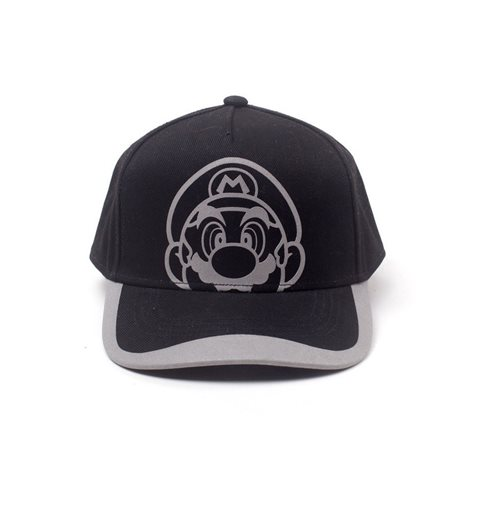 NINTENDO Super Mario Bros. Reflective Mario Print Curved Bill Cap, Black/Grey