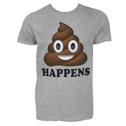 Shit Happens Poop Emoji Men's Grey Tee Shirt