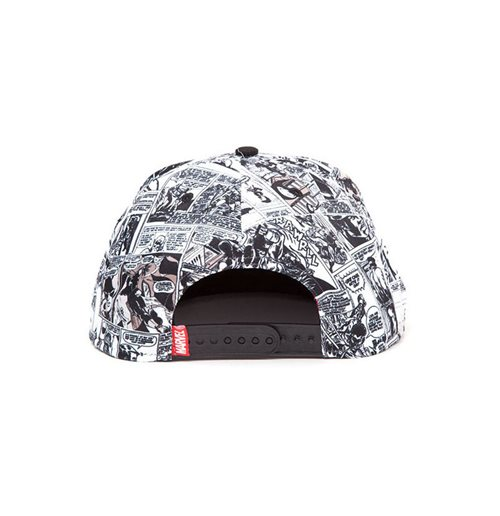 MARVEL COMICS Logo and Comic Pattern Snapback Baseball Cap, Multi-colour