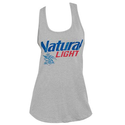 NATURAL LIGHT Logo Racerback Women's Grey Tank Top Shirt