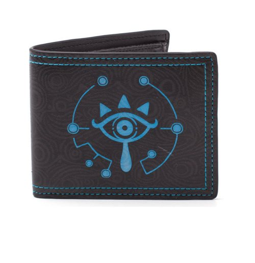 NINTENDO Legend of Zelda Breath of The Wild Sheikah Glow In The Dark Bi-fold Wallet, Black/Blue