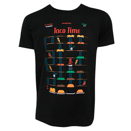 DEADPOOL Taco Time Game Men's Black T-Shirt