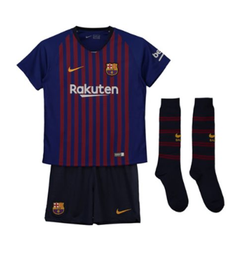 2018-2019 Barcelona Home Nike Little Boys Mini Kit