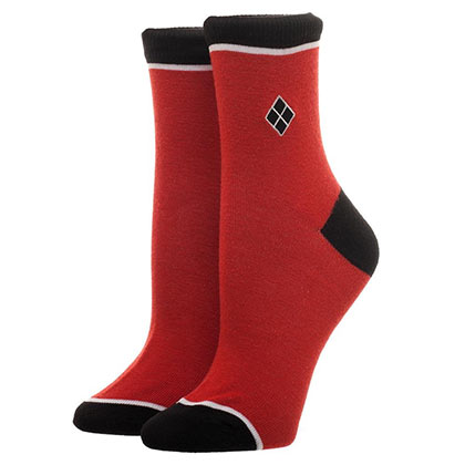 HARLEY QUINN Embroidered Red Juniors Socks