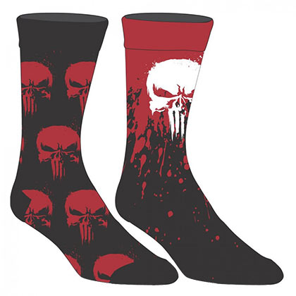 PUNISHER Marvel Superhero 2 Pack Red Black Men's Crew Socks