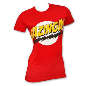 BIG BANG THEORY Bazinga Red Juniors Graphic Tee Shirt