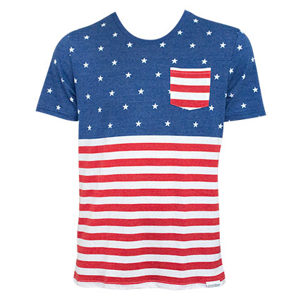 American Flag PATRIOTIC USA Pocket Men's T-Shirt