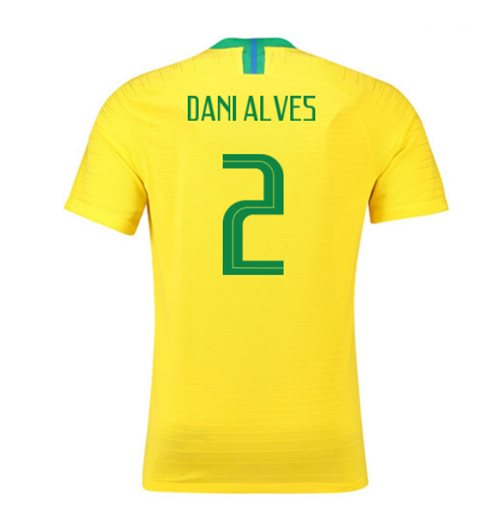 2018-2019 Brazil Home Nike Vapor Match Shirt (Dani Alves 2)