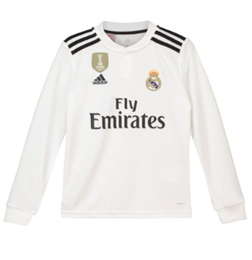 2018-2019 Real Madrid Adidas Home Long Sleeve Shirt (Kids)