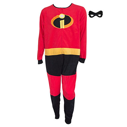 The INCREDIBLES Costume Men's Pajamas Union Suit Mask Zip-Up