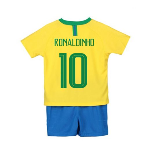 2018-2019 Brazil Home Nike Little Boys Mini Kit (Ronaldinho 10)