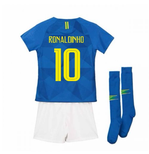 2018-2019 Brazil Away Nike Little Boys Mini Kit (Ronaldinho 10)