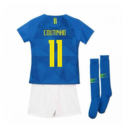 2018-2019 Brazil Away Nike Little Boys Mini Kit (Coutinho 11)