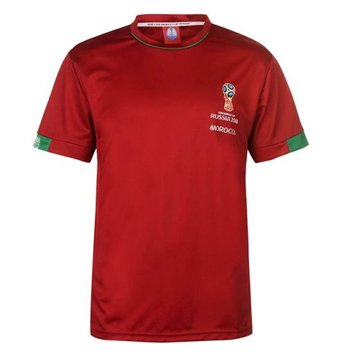 Morocco FIFA World Cup 2018 Poly T Shirt Mens (Red)
