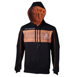 ATARI Men's 2600 Logo Full Length Zipper Hoodie, Medium, Black/Orange
