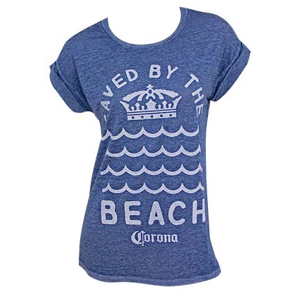Corona Saved By The Beach Rolled Sleeves Women's Blue Tshirt