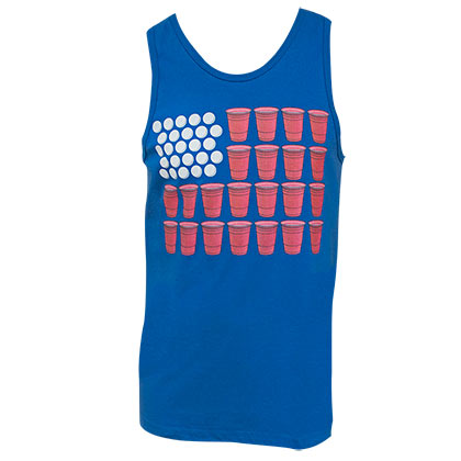 American Flag Patriotic Beer Pong Tank Top