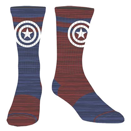 CAPTAIN AMERICA Flipped Colors Men's Superhero Crew Socks