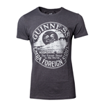 GUINNESS Male Heritage Intaglio Raised Printed T-Shirt, Small, Grey