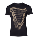 GUINNESS Male Distressed Harp Logo T-Shirt, Large, Black