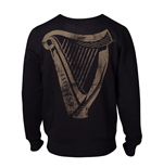 GUINNESS Male Distressed Harp Logo Sweatshirt, Small, Black