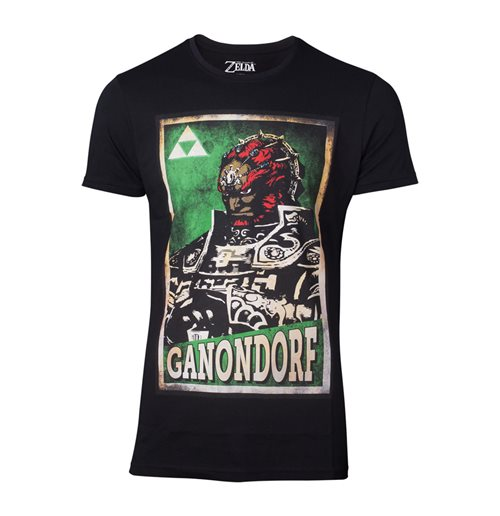 NINTENDO Legend of Zelda Male Propaganda Ganondorf Poster T-Shirt, Medium, Black