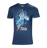 NINTENDO Legendo of Zelda: Breath of the Wild Male Link with Bow Box Art Cover T-Shirt, Large, Blue