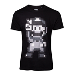 NINTENDO Super Mario Bros. Male 16-bit Mario Peace T-Shirt, Small, Black