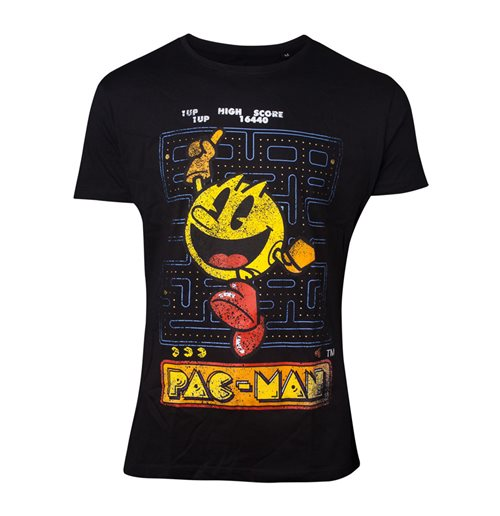 PAC-MAN Male Retro Start Scene T-Shirt, Extra Large, Black